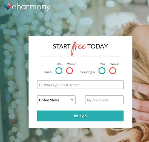 formulário eHarmony