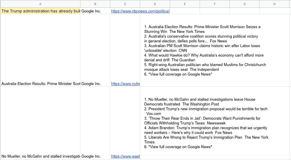 Transfira um feed RSS para sua planilha