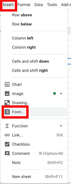 Transfira as informações de um formulário para sua planilha