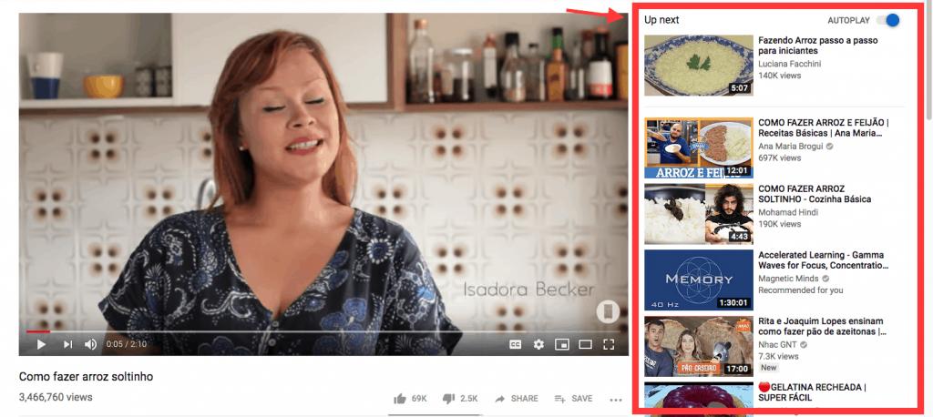 vídeos sugeridos para os usuários