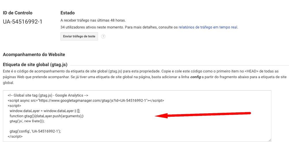 Google Analytics pelo tema do WordPress
