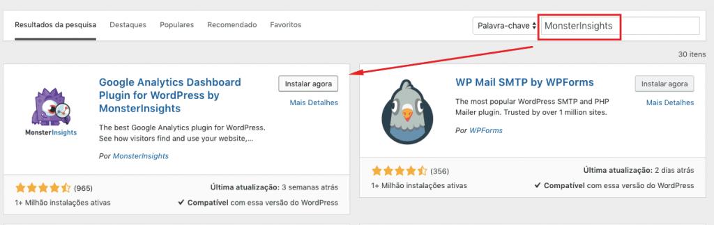 instalar o Google Analytics via plugin