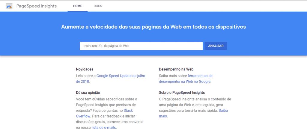 PageSpeed Insights para melhorar a velocidade de carregamento