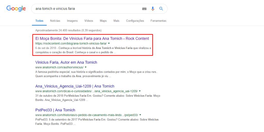 post rankeando em primeiro lugar no Google para o nome dos dois.