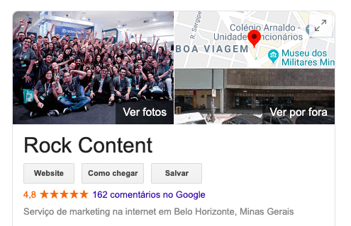 avaliação Rock no Google Meu Negócio