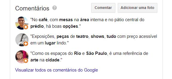 comentários sobre o CCBB, em Belo Horizonte são um dos fatores de rankeamento do SEO local