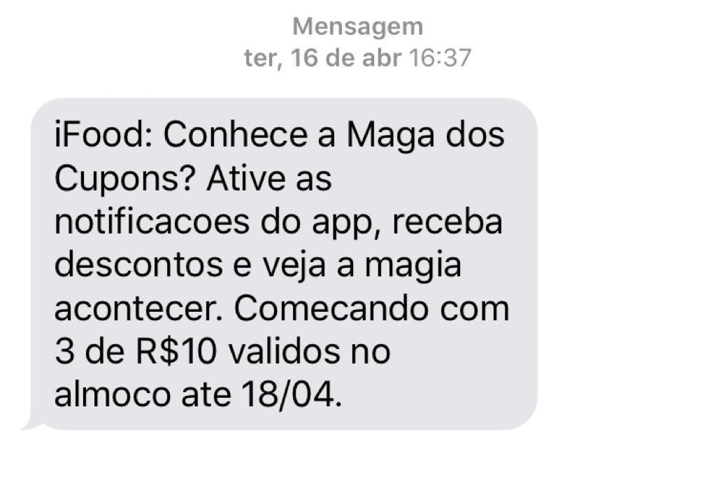 exemplo de sms marketing do ifood