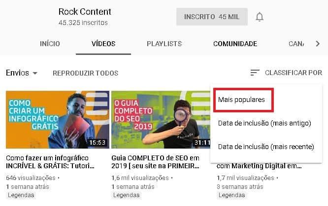 videos mais populares do canal do youtube