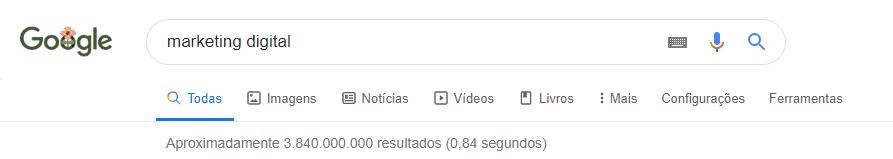 busca no google mostra diferentes tipos de resultado