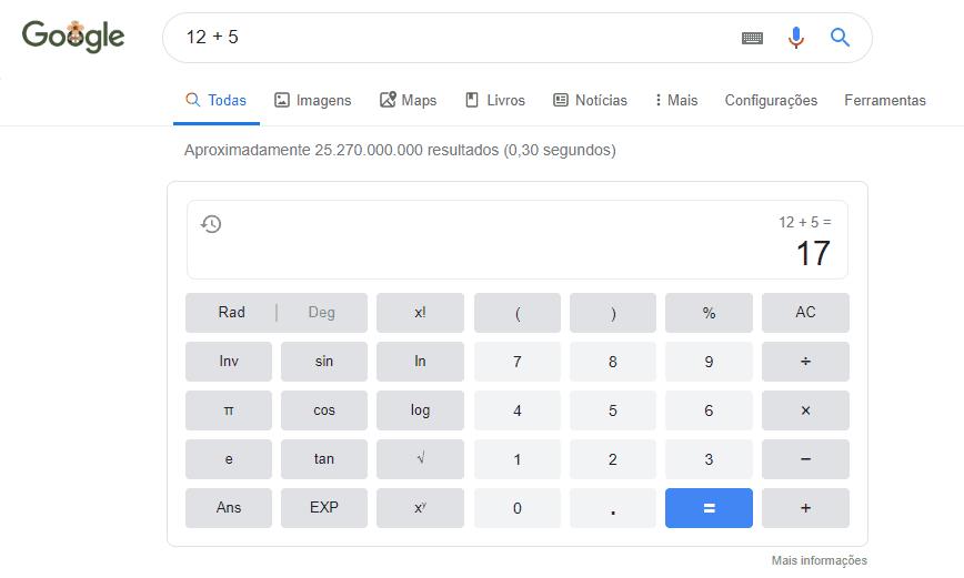 cálculos no google