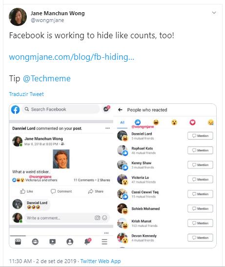 mudança facebook