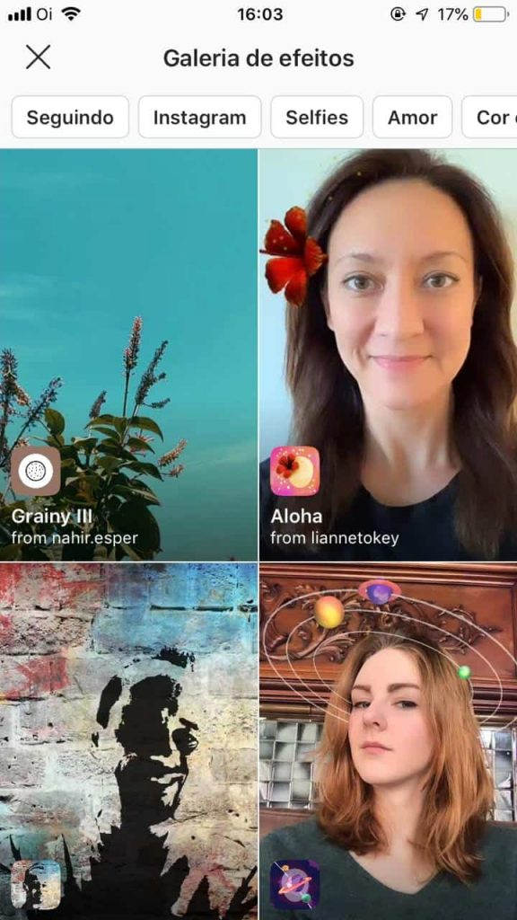 Galeria de filtros do Instagram