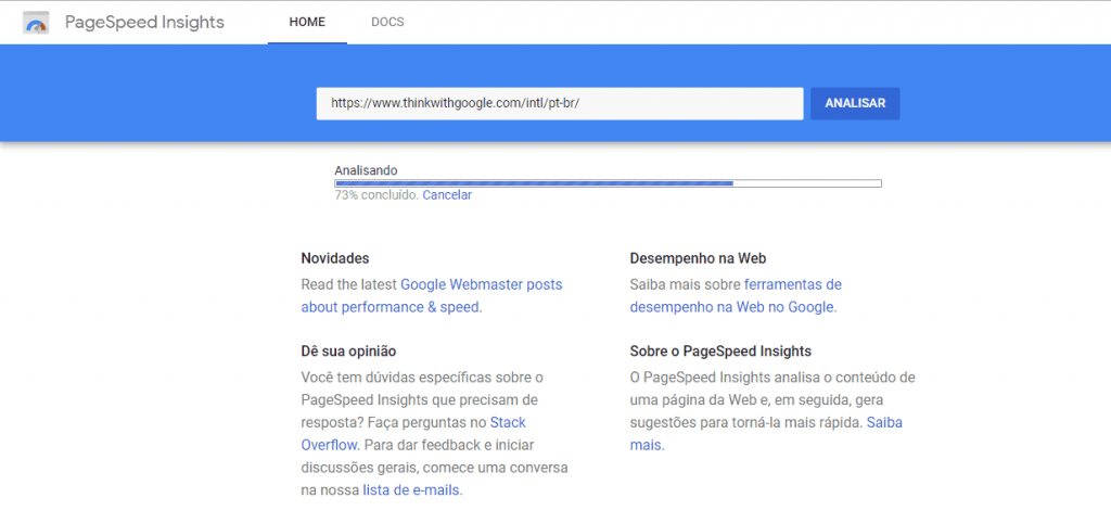 funcionamento do Google PageSpeed Insight