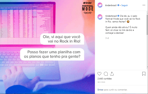 exemplo de post no instagram do Tinder Brasil