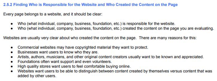 Identificação de quem produziu o conteúdo