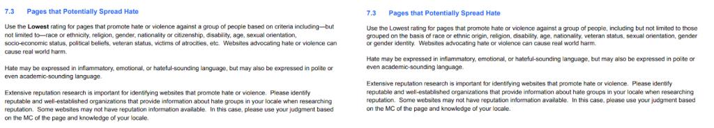 Definição de conteúdos que promovem ódio