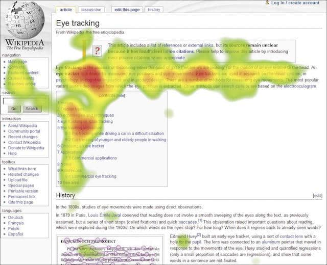 heat map na página da wikipedia