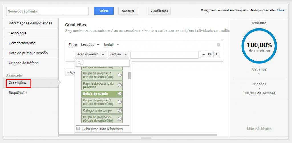 montagem de filtros avançados no google analyitcs