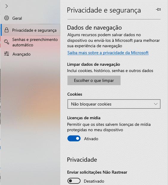 limpar cache Microsoft Edge