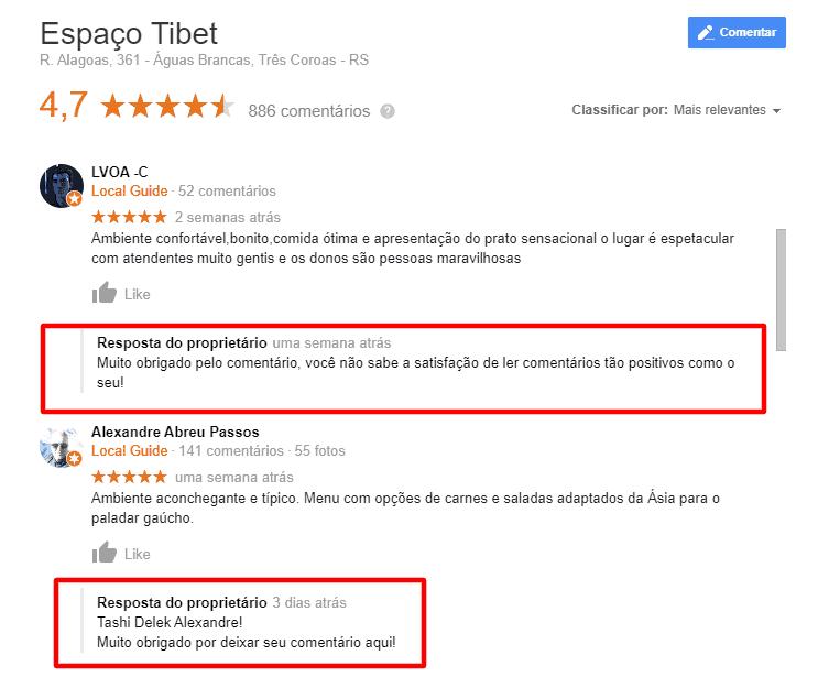espaço tibet respondendo a comentários