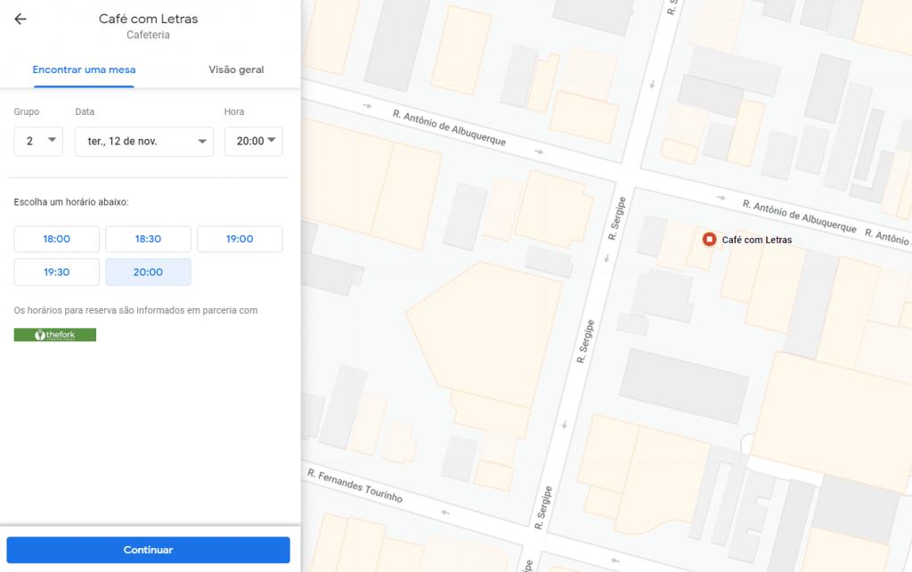 reservas no google meu negócio