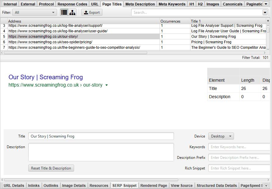 Editar títulos e meta descriptions
