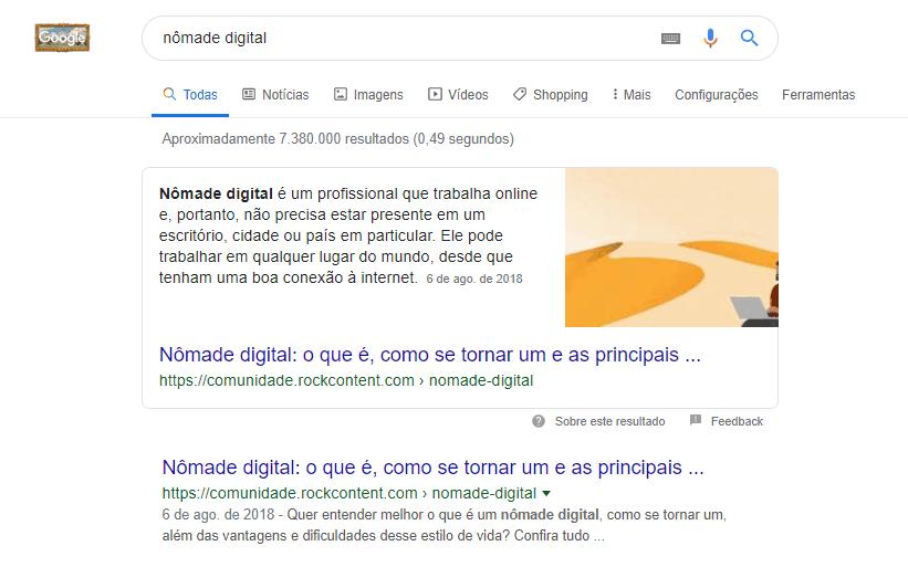 nômade digital em primeiro lugar no google