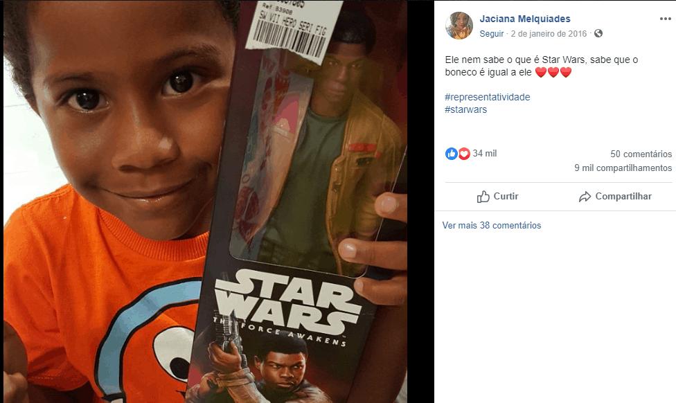 criança pede boneco do star wars por se sentir representada