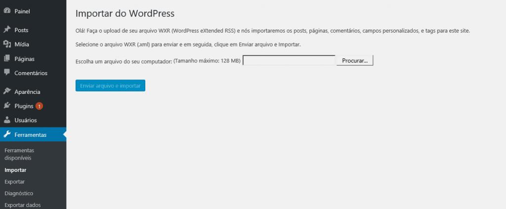 migração no wordpress