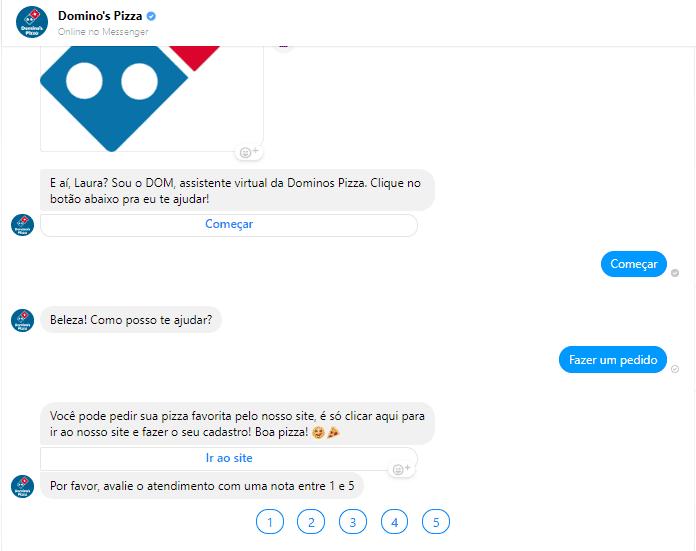 dominos pizza faz atendimento pelo facebook messenger