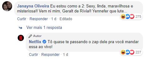 comentários em postagens da netflix