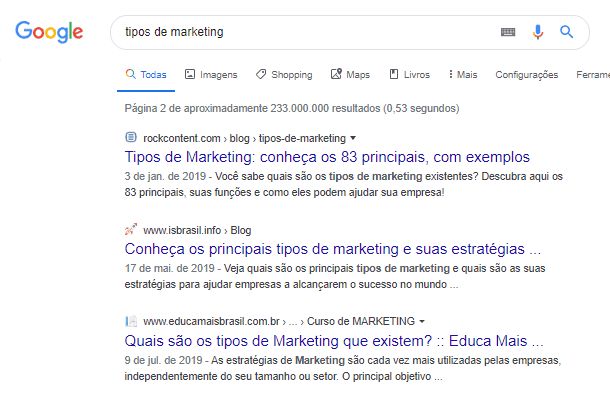 Layout Google com favicons