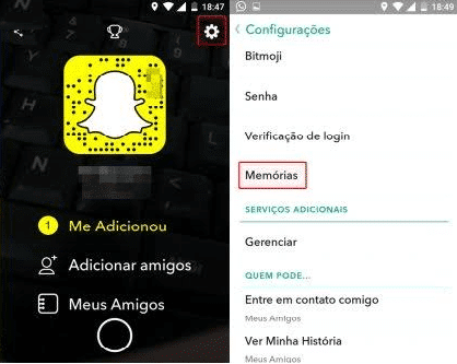 memórias do snapchat