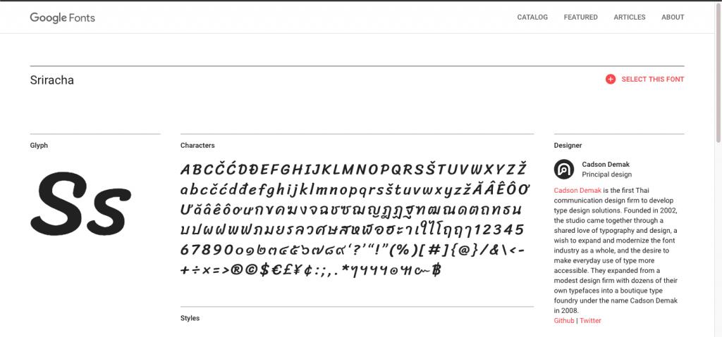tela da fonte, do google fonts