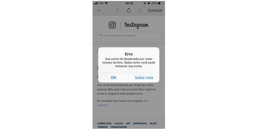 ação bloqueada no instagram