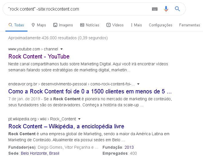 busca no google pelo site