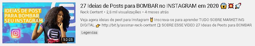 exemplo de thumbnail e descrição de vídeo