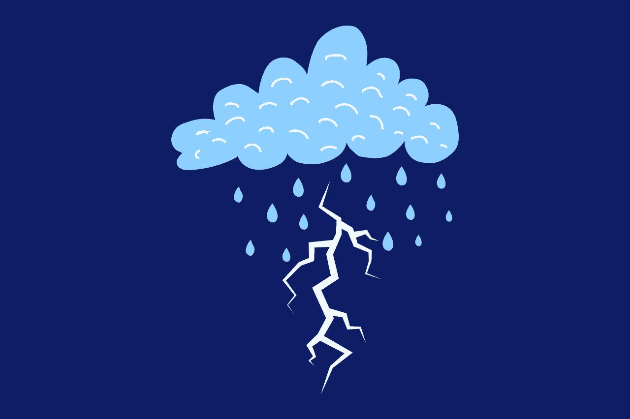 ilustração de tempestade remetendo ao estresse no trabalho