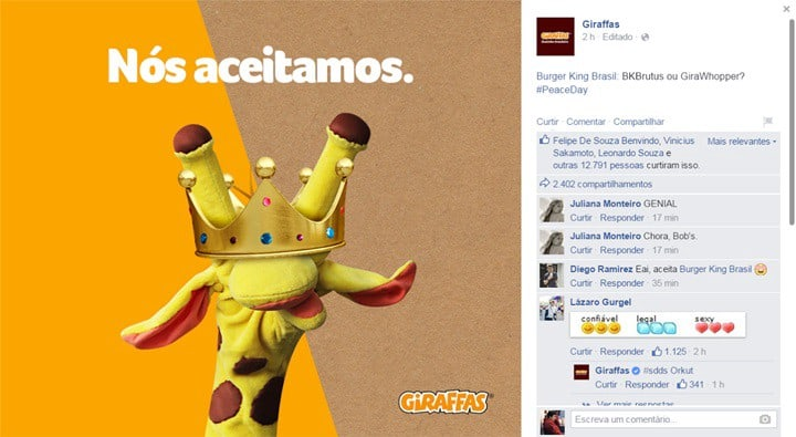 Marketing de Oportunidade do Giraffas.
