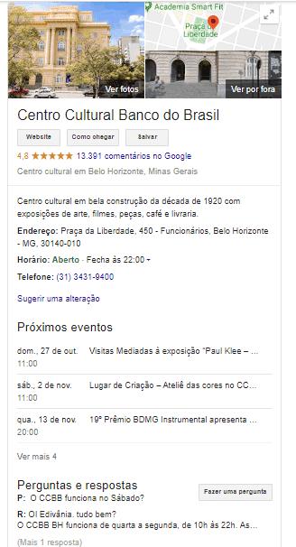 Exemplo Google Meu Negócio
