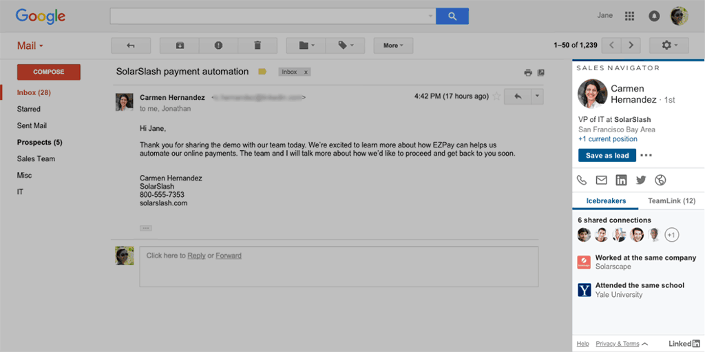 Sales Navigator for Gmail
