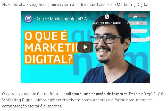 vídeo em post sobre marketing digital