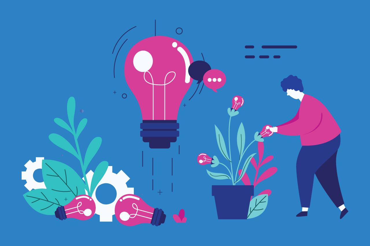 ilustração sobre banco de ideias