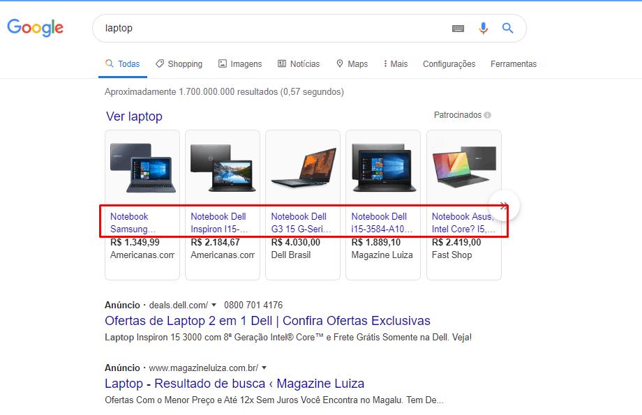 busca por laptop no Google apresenta resultados com notebook