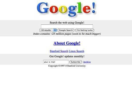 página inicial do google antigamente