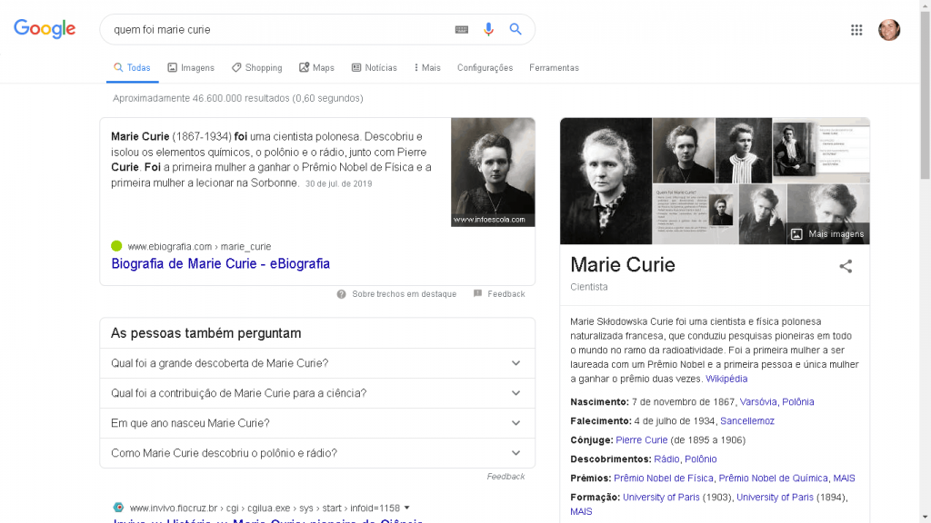 Knowledge Graph para marie curie
