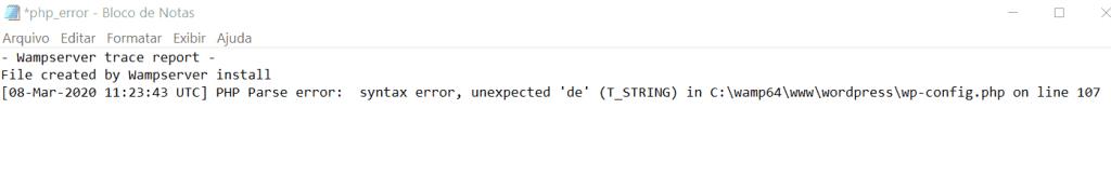 Log File erro em PHP