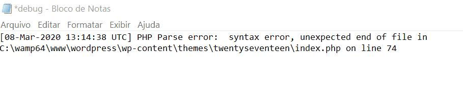 Código de erro no WordPress