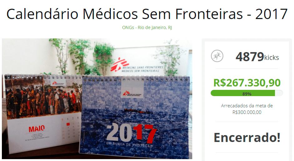 venda de calendário para arrecadar doações - médicos sem fronteiras