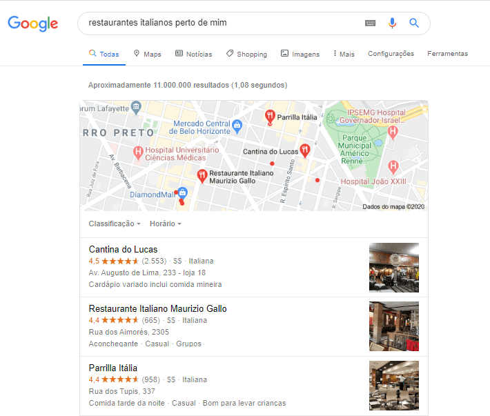 busca por restaurantes próximos